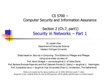 CS 5700 – Computer Security and Information Assurance Section 2 (Ch
