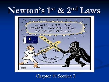 Newton's 1 st & 2 nd Laws Chapter 10 Section 3. Newton's 1 st Law What is an Unbalanced Force? An object will remain at rest OR moving at a constant velocity.