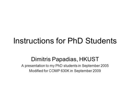 Instructions for PhD Students