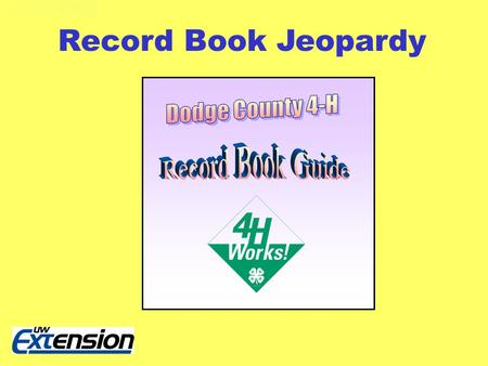 Record Book Jeopardy. This and That 100 300 200 400 500 100 300 200 400 500 100 300 200 400 500 100 300 200 400 500 100 300 200 400 500 Parts of Record.