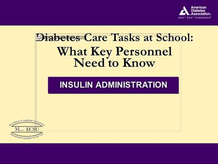 Diabetes Care Tasks at School: What Key Personnel Need to Know Diabetes Care Tasks at School: What Key Personnel Need to Know INSULIN ADMINISTRATION.
