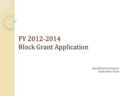 FY 2012-2014 Block Grant Application Joint Block Grant Planner Sandra Mena-Tyree.