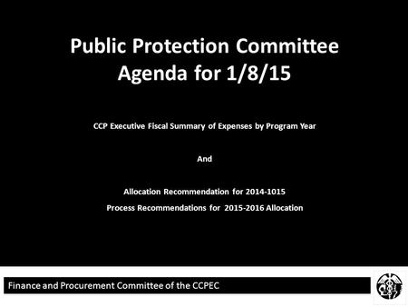 N ;lm ;lm Finance and Procurement Committee of the CCPEC Public Protection Committee Agenda for 1/8/15 CCP Executive Fiscal Summary of Expenses by Program.