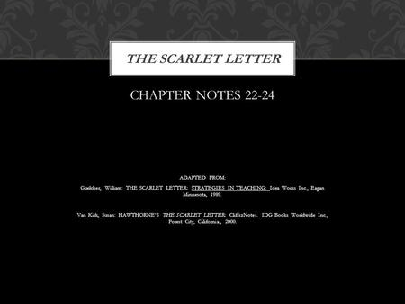 CHAPTER NOTES 22-24 ADAPTED FROM: Guelcher, William: THE SCARLET LETTER: STRATEGIES IN TEACHING: Idea Works Inc., Eagan Minnesota, 1989. Van Kirk, Susan: