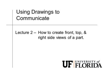 Using Drawings to Communicate Lecture 2 –How to create front, top, & right side views of a part.