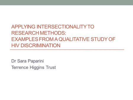 An Introduction To Intersectionality Relevance For Researching