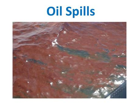 Oil Spills. 2010 Gulf Oil Spill 4.9 million barrels of oil (206 million gallons) Covered 68,000 square miles (as a comparison, the state of Colorado is.