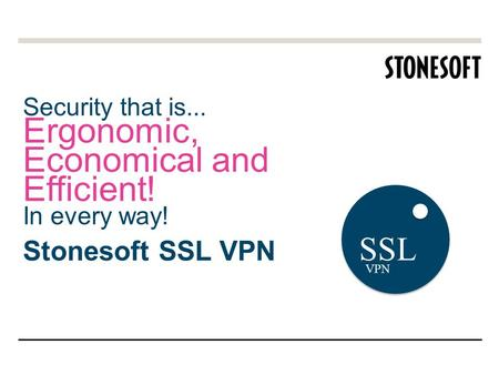 Security that is... Ergonomic, Economical and Efficient! In every way! Stonesoft SSL VPN SSL VPN.