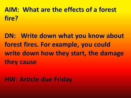 AIM: What are the effects of a forest fire? DN: Write down what you know about forest fires. For example, you could write down how they start, the damage.