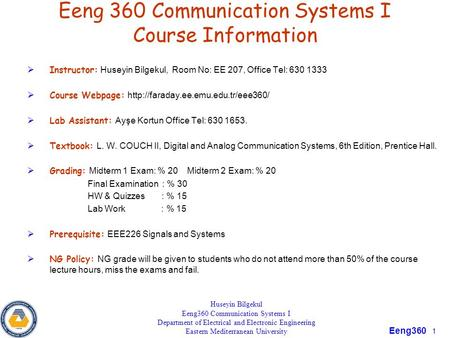 Eeng 360 Communication Systems I Course Information