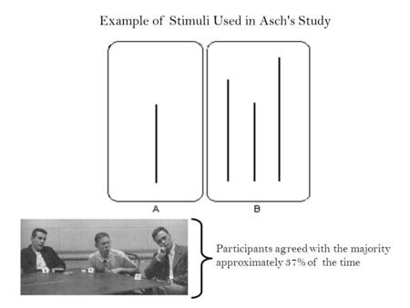 Example of Stimuli Used in Asch's Study Participants agreed with the majority approximately 37% of the time.