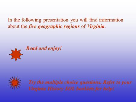 In the following presentation you will find information