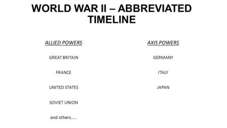 WORLD WAR II – ABBREVIATED TIMELINE