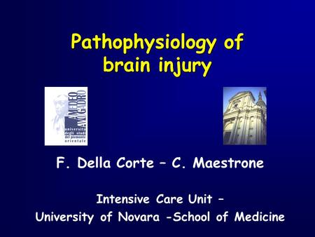 F. Della Corte – C. Maestrone Intensive Care Unit – University of Novara -School of Medicine Pathophysiology of brain injury.