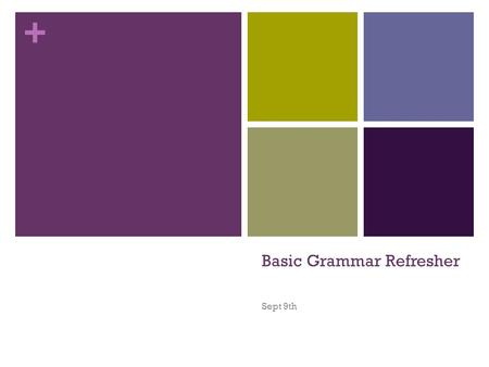 + Basic Grammar Refresher Sept 9th. + Agenda Review basic grammar skills Practice those skills while creating sentences and fixing them. END GOAL: Be.