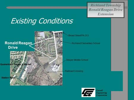 Carroll Engineering Corporation Existing Conditions Richland Township Ronald Reagan Drive Extension Richland Elementary School Strayer Middle School Railroad.