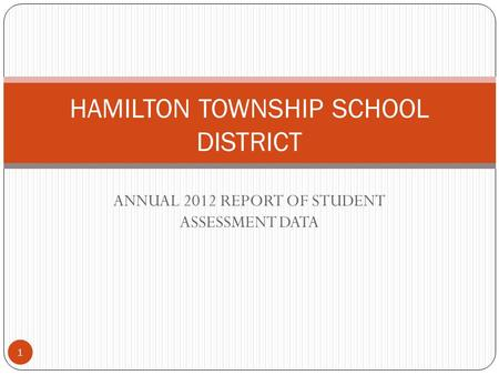 ANNUAL 2012 REPORT OF STUDENT ASSESSMENT DATA 1 HAMILTON TOWNSHIP SCHOOL DISTRICT.