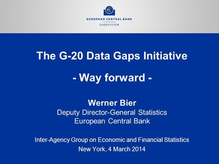 The G-20 Data Gaps Initiative - Way forward - Inter-Agency Group on Economic and Financial Statistics New York, 4 March 2014 Werner Bier Deputy Director-General.