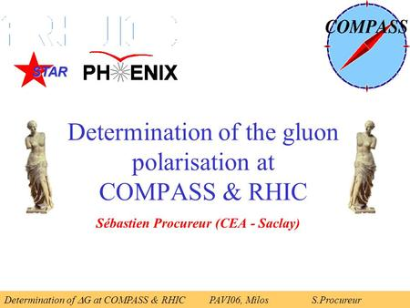 Determination of the gluon polarisation at COMPASS & RHIC Sébastien Procureur (CEA - Saclay) Determination of  G at COMPASS & RHICPAVI06, Milos S.Procureur.