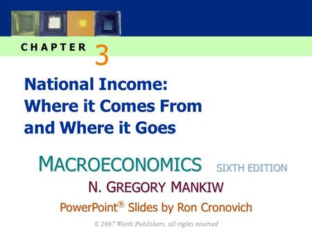 M ACROECONOMICS C H A P T E R © 2007 Worth Publishers, all rights reserved SIXTH EDITION PowerPoint ® Slides by Ron Cronovich N. G REGORY M ANKIW National.