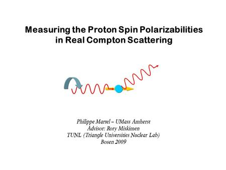 Measuring the Proton Spin Polarizabilities in Real Compton Scattering Philippe Martel – UMass Amherst Advisor: Rory Miskimen TUNL (Triangle Universities.