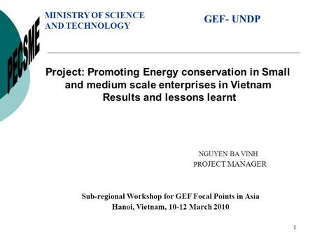 1 Project: Promoting Energy conservation in Small and medium scale enterprises in Vietnam Results and lessons learnt MINISTRY OF SCIENCE AND TECHNOLOGY.