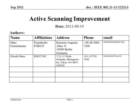 Doc.: IEEE 802.11-11/1232r3 Submission Sep 2011 Slide 1 Active Scanning Improvement Date: 2011-09-19 Authors: