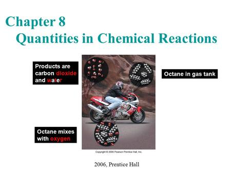 Chapter 8 Quantities in Chemical Reactions 2006, Prentice Hall Octane in gas tank Octane mixes with oxygen Products are carbon dioxide and water.