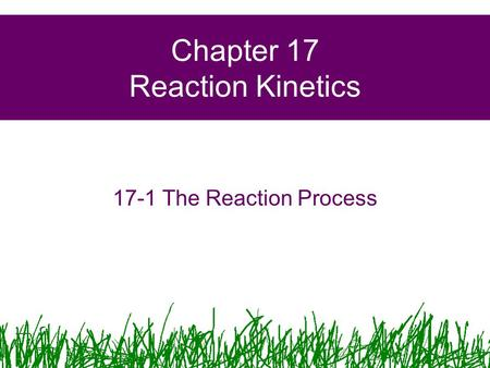 Chapter 17 Reaction Kinetics 17-1 The Reaction Process.