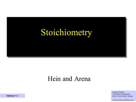 Stoichiometry Hein and Arena Version 1.1