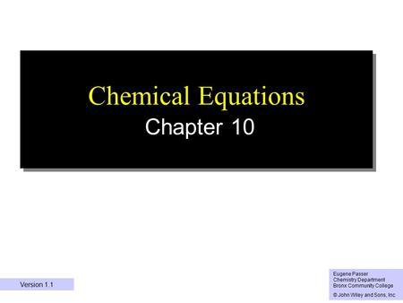 Chemical Equations Chapter 10