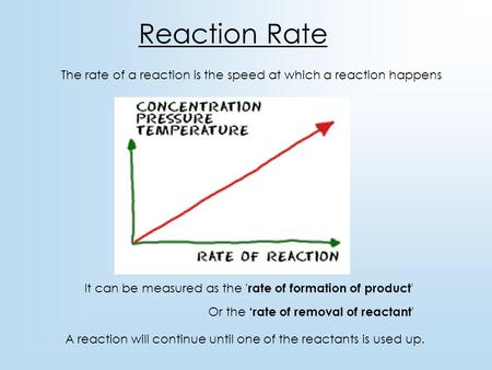 Reaction Rate The rate of a reaction is the speed at which a reaction happens It can be measured as the 'rate of formation of product' Or the 'rate of.