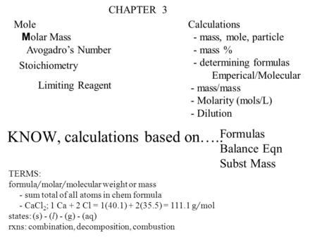 KNOW, calculations based on…..
