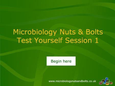 Www.microbiologynutsandbolts.co.uk Microbiology Nuts & Bolts Test Yourself Session 1 Begin here.