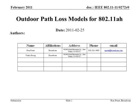 Doc.: IEEE 802.11-11/0272r0 Submission February 2011 Ron Porat, Broadcom Outdoor Path Loss Models for 802.11ah Date: 2011-02-25 Authors: Slide 1.