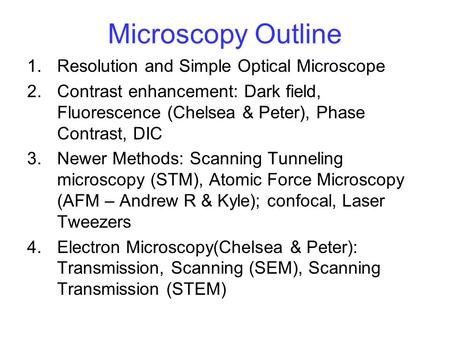 Microscopy Outline 1.Resolution and Simple Optical Microscope 2.Contrast enhancement: Dark field, Fluorescence (Chelsea & Peter), Phase Contrast, DIC 3.Newer.
