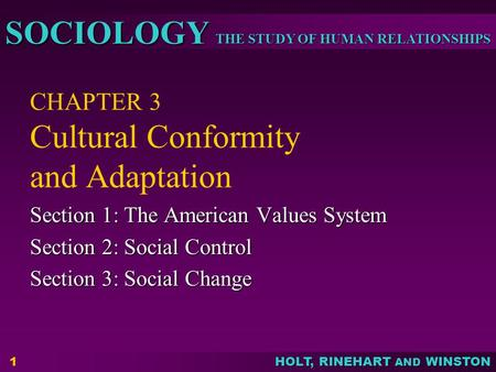 THE STUDY OF HUMAN RELATIONSHIPS SOCIOLOGY HOLT, RINEHART AND WINSTON 1 CHAPTER 3 Cultural Conformity and Adaptation Section 1: The American Values System.