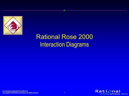 Introduction to Rational Rose 2000 v6.5 Copyright © 1999 Rational Software, all rights reserved 1 Rational Rose 2000 Interaction Diagrams.