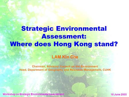 Strategic Environmental Assessment: Where does Hong Kong stand? LAM Kin Che Chairman, Advisory Council on the Environment Head, Department of Geography.