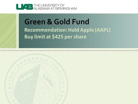 Green & Gold Fund Recommendation: Hold Apple (AAPL) Buy limit at $425 per share.