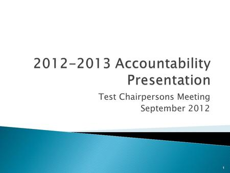 Test Chairpersons Meeting September 2012 1. A ccountability R esearch and M easurement  On February 28, 2012, the State Board of Education considered.