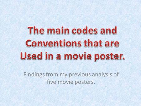 Findings from my previous analysis of five movie posters.