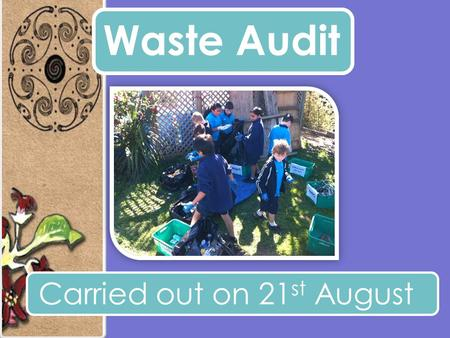 Waste Audit Carried out on 21 st August. The weight of 1 day of normal school rubbish was.. 21.3 kg The General Rubbish.