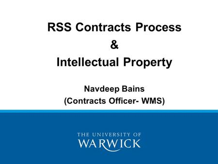 Intellectual Property (Contracts Officer- WMS)