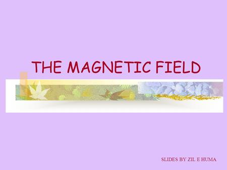 THE MAGNETIC FIELD SLIDES BY ZIL E HUMA. OBJECTIVES MAGNET THE MAGNETIC FIELD B MAGNETIC FIELD DUE TO A CURENT.
