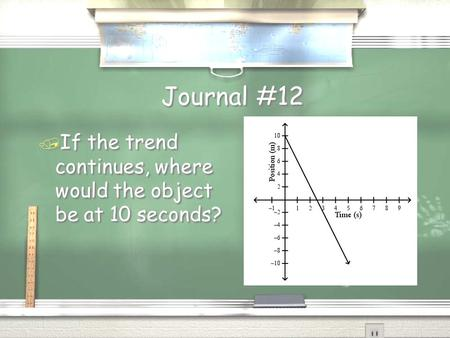 Journal #12 / If the trend continues, where would the object be at 10 seconds?
