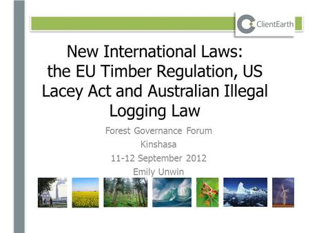 New International Laws: the EU Timber Regulation, US Lacey Act and Australian Illegal Logging Law Forest Governance Forum Kinshasa 11-12 September 2012.