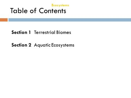 Chapter 21 Ecosystems Table of Contents