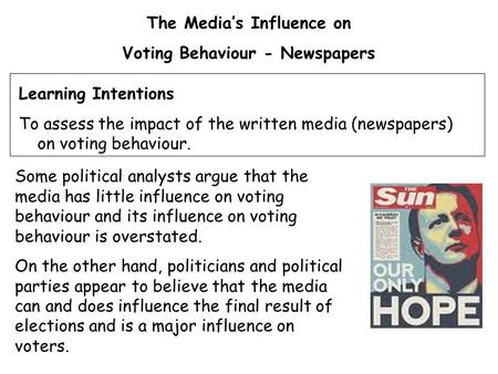 The Media's Influence on Voting Behaviour - Newspapers Some political analysts argue that the media has little influence on voting behaviour and its influence.