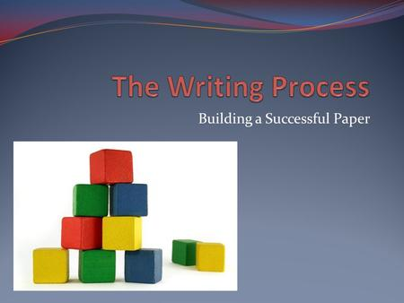 Building a Successful Paper. A Common Complaint Student writers don't plan. They just sit down and start writing.